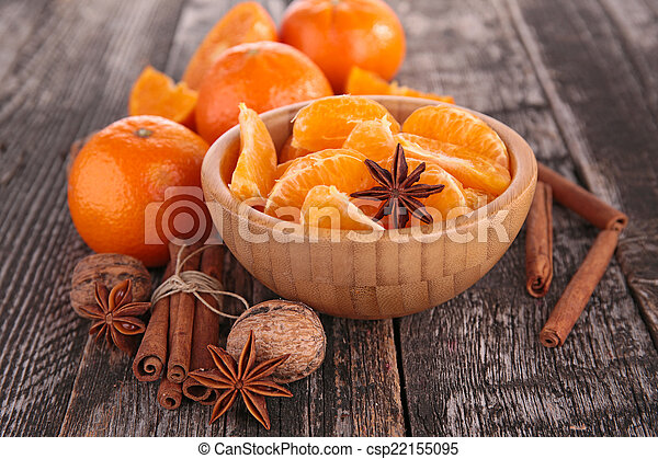 tangerine or mandarin fruit and spices - csp22155095