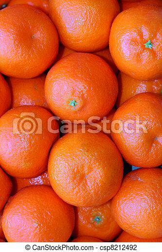 tangerine oranges in a crate fresh fruit stock - csp8212492