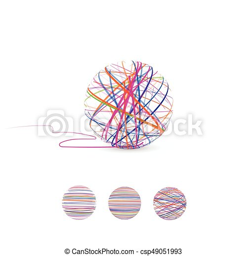 Tangle vector illustration. Ball of thread for knitting. - csp49051993