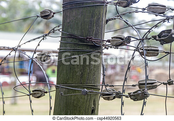 Tangled barbed wire connections on vintage wooden post. Close-up of ...