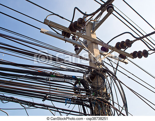 Tangled haywire Electric cable on