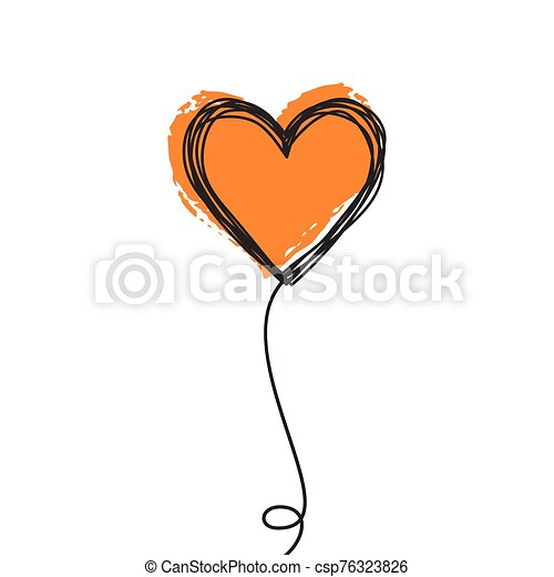 Tangled Scribbled Heart On A String Air Baloon Or Flower Like Tangled Scribbled Heart On A String Line Like An Air Baloon Or