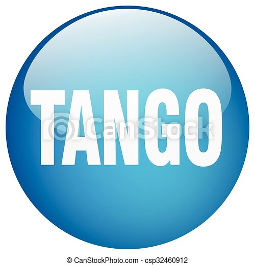 tango blue round gel isolated push button - csp32460912