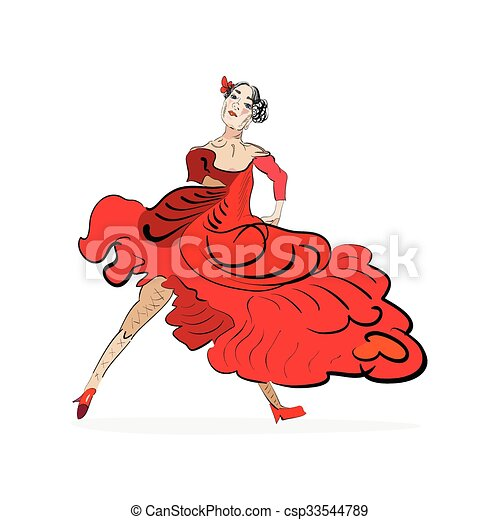 tango dancer in red dress - csp33544789