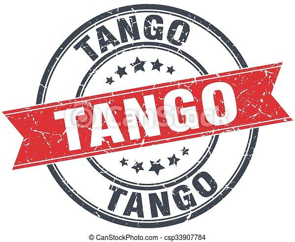 tango red round grunge vintage ribbon stamp - csp33907784