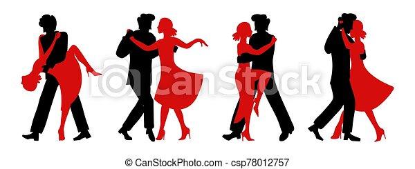 tango., silueta, vector, guapo, parejas, versions, dance., niña, apasionado, cuatro, siluetas, bailando, woman., negro, conjunto, hombre, rojo - csp78012757