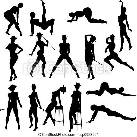 taniec, sexy, silouettes - csp0983994