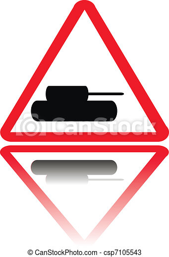 Tank crossing sign with reflection - csp7105543
