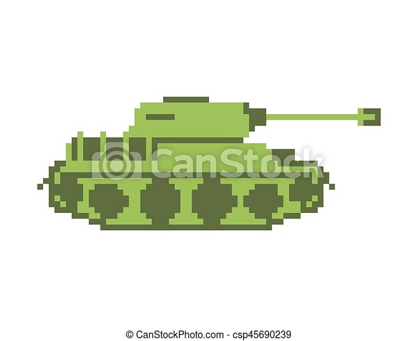 Tank Pixel Art Military Machine Is Pixelatedl Combat Transport Isolated