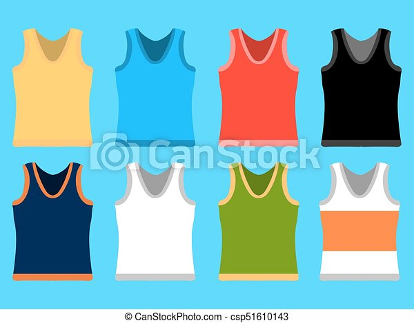Tank Top set simple icons. Yellow, red, blue, white pullovers isolated on blue background. Flat design Vector Illustration - csp51610143