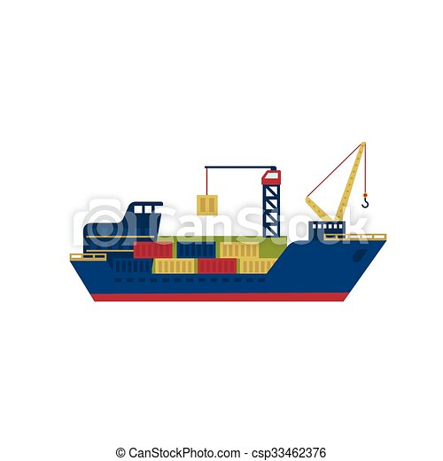 Tanker cargo ship with containers. vector illustration. Tanker cargo ...