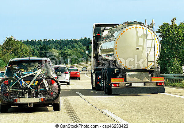 Tanker storage truck on road in Germany - csp46233423