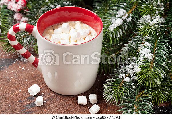 tanne, eibisch, baum, kakau, heiß, weihnachten - csp62777598