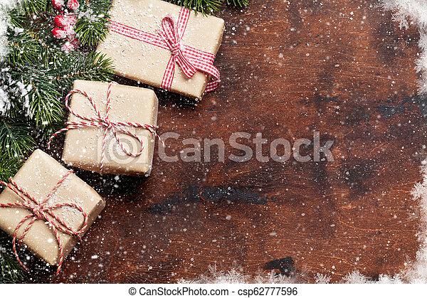 tanne, geschenk, baum, kästen, xmax, weihnachten - csp62777596