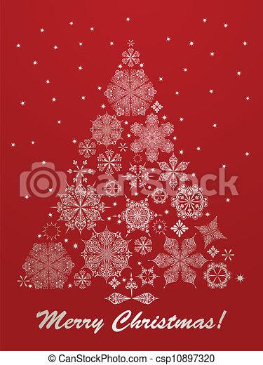 Tanne, gruß, vektor, weihnachtskarte. Tanne, 10, gemacht ...