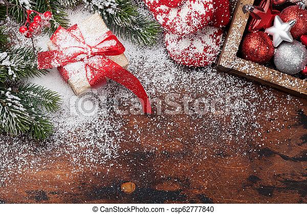 tanne, kasten, dekor, geschenk, baum, weihnachten - csp62777840