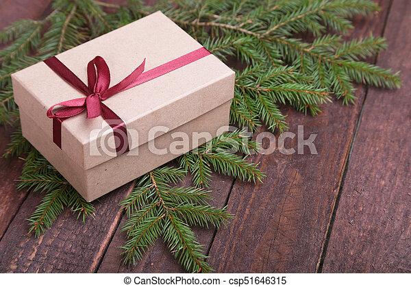 tanne, kasten, geschenk, hölzern, baum, brett, weihnachten - csp51646315