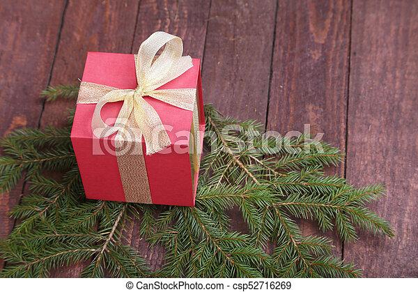 tanne, kasten, geschenk, hölzern, baum, brett, weihnachten - csp52716269