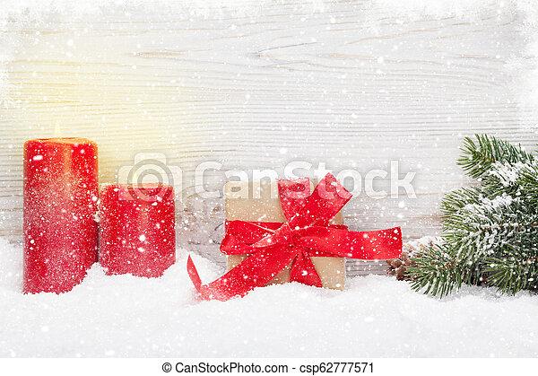 tanne, kasten, geschenk, kerzen, baum, weihnachten - csp62777571