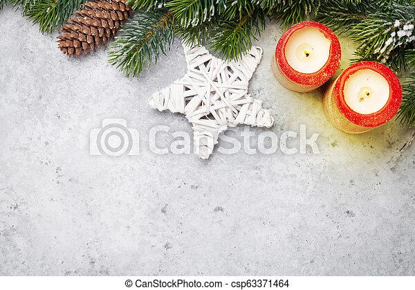 tanne, kerzen, baum- niederlassung, weihnachten, dekor - csp63371464