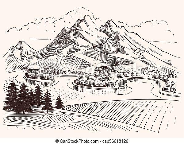Super Tanne, landschaft., skizze, bleistift, bäume, karikatur, vektor @NP_42