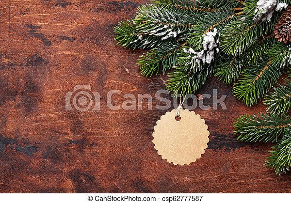 tanne, schnee, holz, zweig, bedeckt, weihnachten - csp62777587