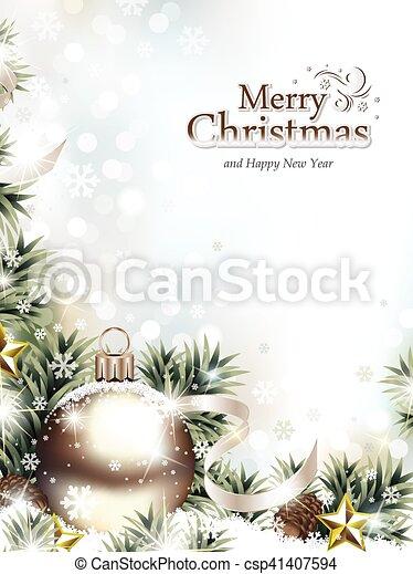 tanne, verzierung, zweige, schnee, weihnachten - csp41407594