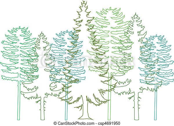 Fir-Bäume, Vektor - csp4691950