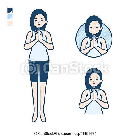 tanque, oración, mujer, cima, simple - csp74495674
