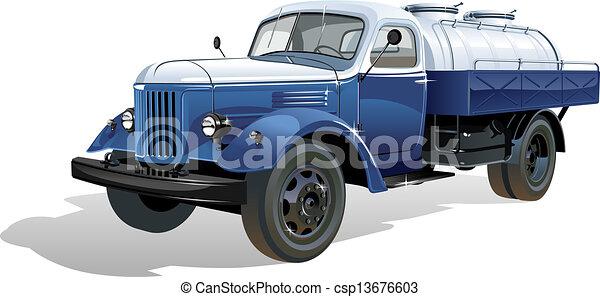 tanque, vetorial, caminhão, retro - csp13676603