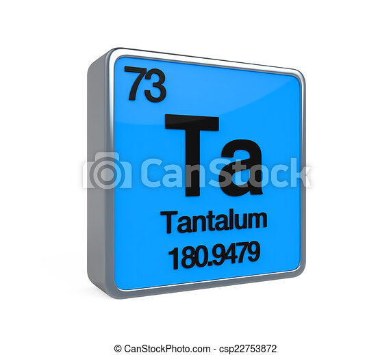 Tantalum Element Periodic Table Isolated On White Background 3d Render