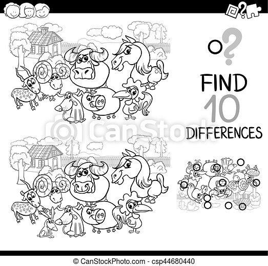 tanya, játék, különbség, állatok - csp44680440