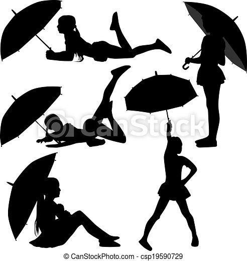 Mädchentanz mit Regenschirm - csp19590729