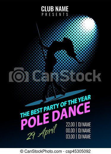 Tanz, plakat, flyer., dance., stange, nacht, party, template. Tanz ...