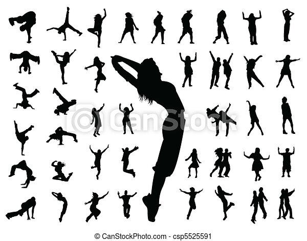 tanz, springende , silhouette, leute - csp5525591