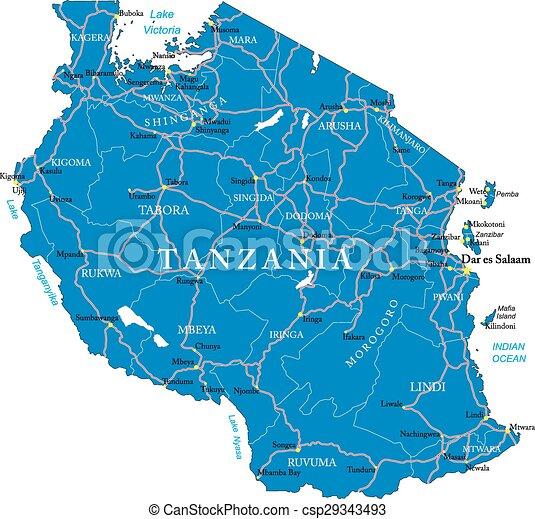 Tanzania map - csp29343493