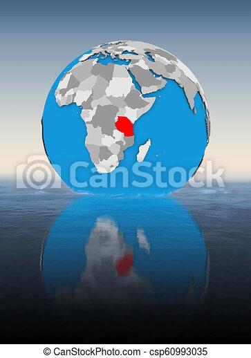 Tanzania on globe in water - csp60993035