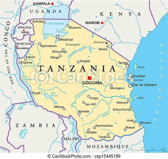 Tanzania Political Map - csp15445189