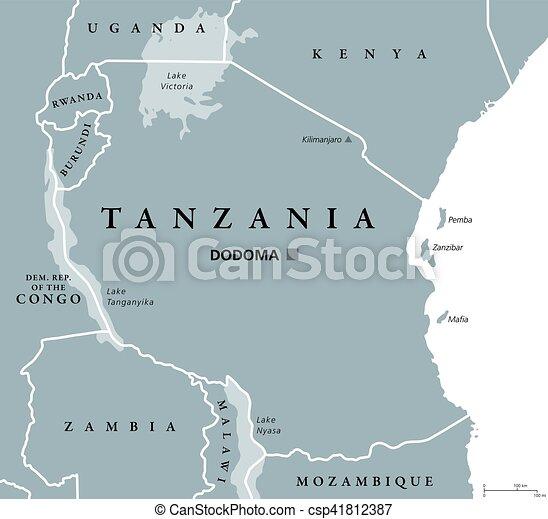 Map Of Africa Zanzibar.Tanzania Political Map