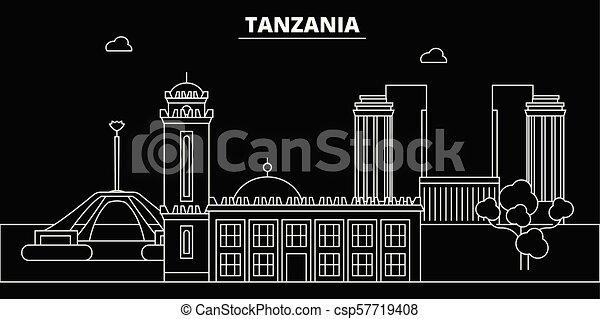 Tanzania Silhouette Skyline Vector City Tanzanian Linear Architecture Buildings Travel Illustration