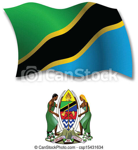 tanzania textured wavy flag vector - csp15431634