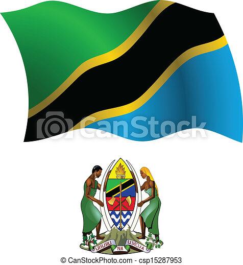 tanzania wavy flag and coat - csp15287953