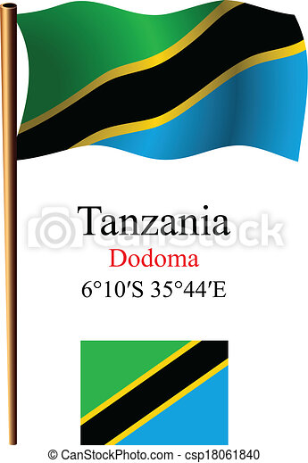 tanzania wavy flag and coordinates - csp18061840