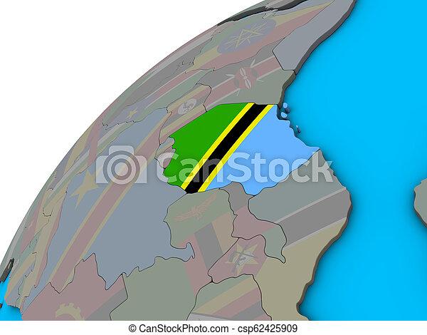 Tanzania with flag on 3D globe - csp62425909