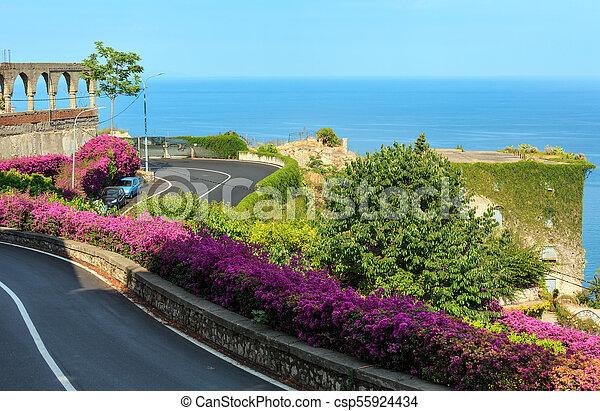 Taormina city flowers scene, Sicily, Italy - csp55924434