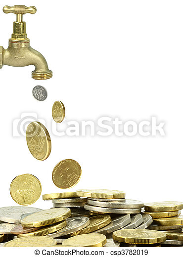 tap and a pile of coins - csp3782019