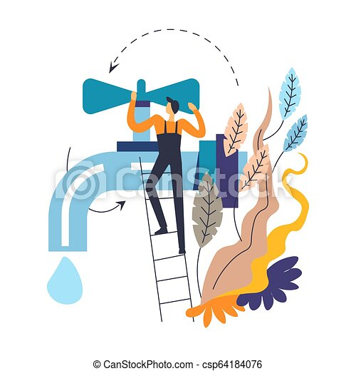Tap and plumber in overalls on ladder isolated icon abstract leaves - csp64184076