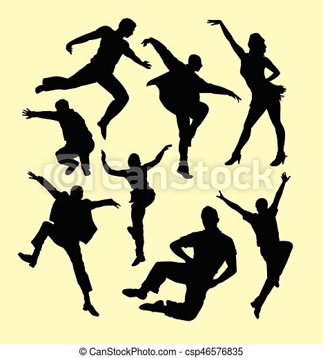 Tap Dance Man And Women Silhouette Good Use For Symbol Web