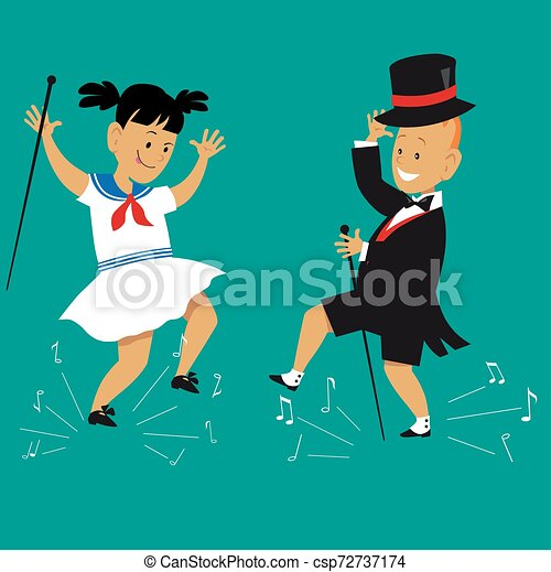 Tap Dancing Children Cute Cartoon Kids Tap Dancing In Vintage Outfits With Canes And Top Hat Eps 8 Vector Illustration