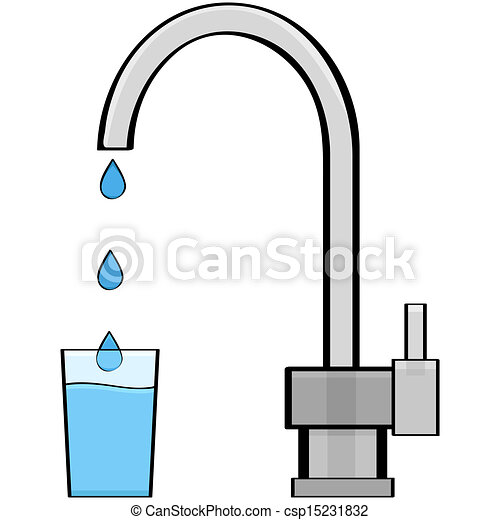 Tap water. Cartoon illustration showing water coming out of ...